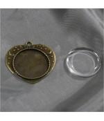 Kit cabochon verre pendentif Love 36 x 32 mm (20 pièces)