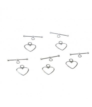 Fermoir t toggle Cœur simple 14 x 12 mm (10 pièces)