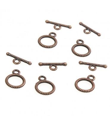 Fermoir t toggle strié pour bijoux 10,5 mm (10 pièces) - Cuivre