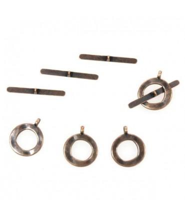 Fermoir t toggle Ecrous 13,5 mm (10 pièces) - Cuivre