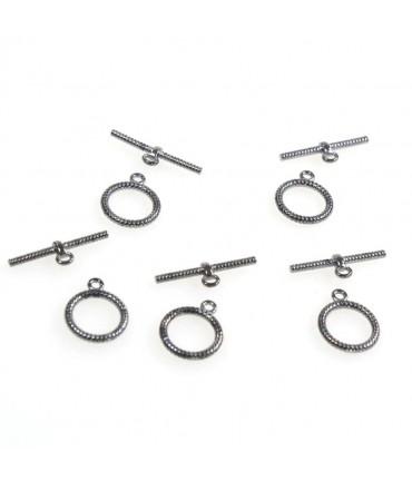 Fermoir t toggle Corde pour bijoux 16 mm (10 pièces) - Anthracite
