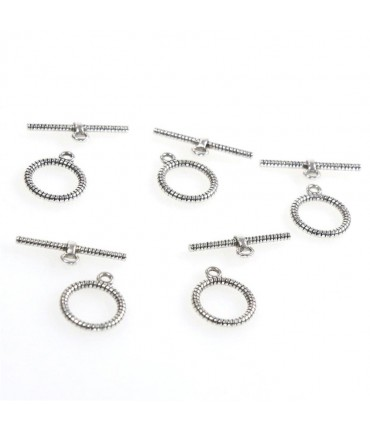 Fermoir t toggle Corde pour bijoux 16 mm (10 pièces) - Gris