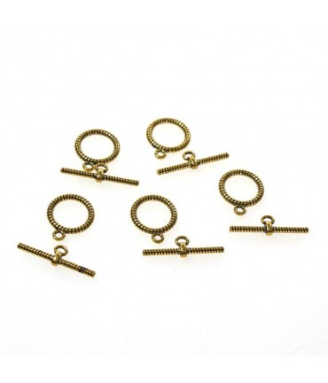 Fermoir t toggle Corde pour bijoux 16 mm (10 pièces) - Doré