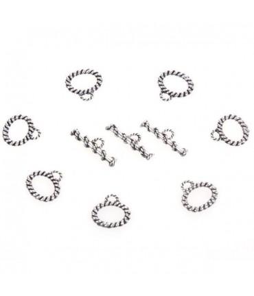 Fermoir t toggle Cordelette bijoux 21 x 12 mm (10 pièces) - Gris