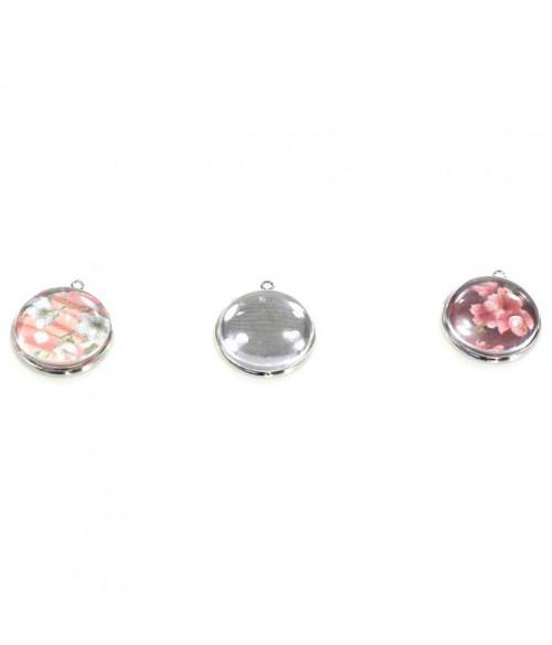 Kit cabochon verre rond pendentif 25 x 21 mm (5 pièces)