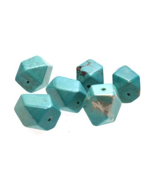 Perles losange turquoise synthétique 18 mm effet marbre (1 pièce)