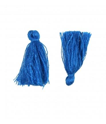 Pompons en coton pour la création de bijoux 30 mm (5 pièces) - Bleu