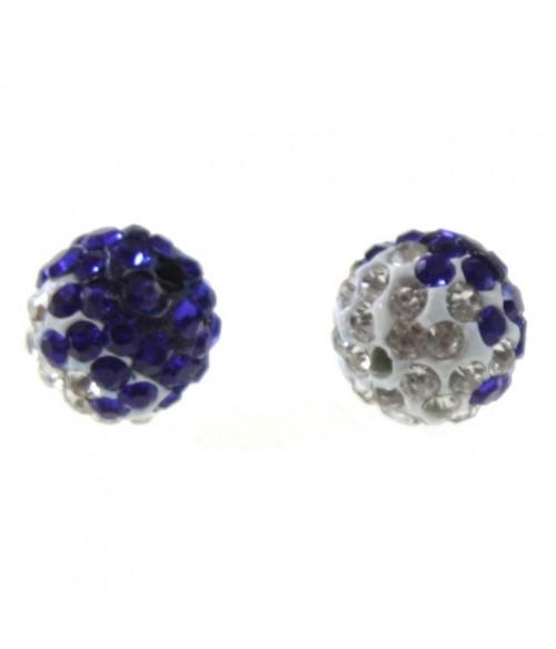Perles shamballa rondes bicolores dégradées 12 mm (5 pièces)