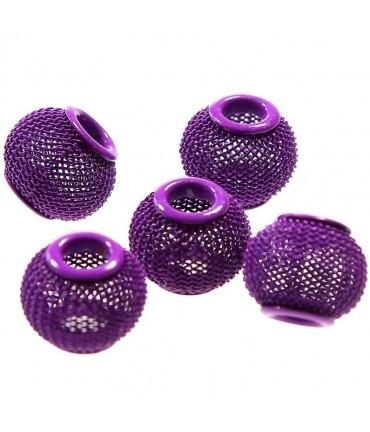 Perles metal tressé boules treillis 12 mm (5 pièces) - Violet
