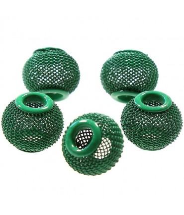 Perles metal tressé boules treillis 12 mm (5 pièces) - Vert pomme