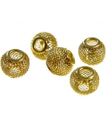 Perles metal tressé boules treillis 12 mm (5 pièces) - Doré