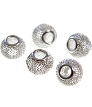 Perles metal tressé boules treillis 12 mm (5 pièces) - Argenté