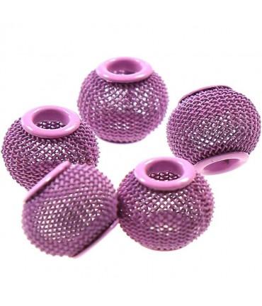 Perles metal tressé boules treillis 12 mm (5 pièces) - Rose