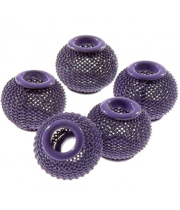 Perles metal tressé boules treillis 12 mm (5 pièces) - Parme