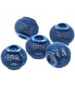Perles metal tressé boules treillis 12 mm (5 pièces) - Bleu