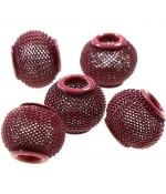 Perles metal tressé boules treillis 12 mm (5 pièces) - Rouge
