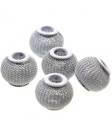 Perles metal tressé boules treillis 12 mm (5 pièces) - Gris
