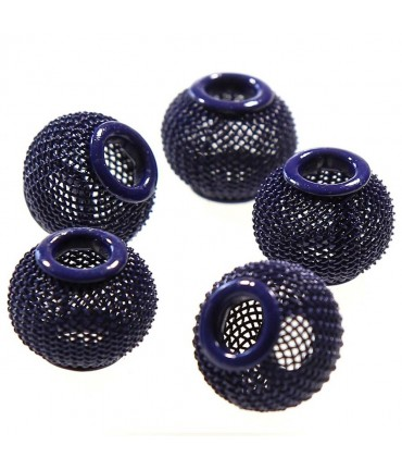 Perles metal tressé boules treillis 12 mm (5 pièces) - Bleu marine