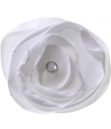 Fleur en tissu pour la création de bijoux et accessoires (5 pièces) - Blanc