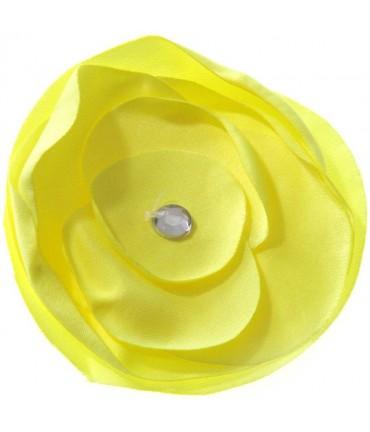 Fleur en tissu pour la création de bijoux et accessoires (5 pièces) - Jaune