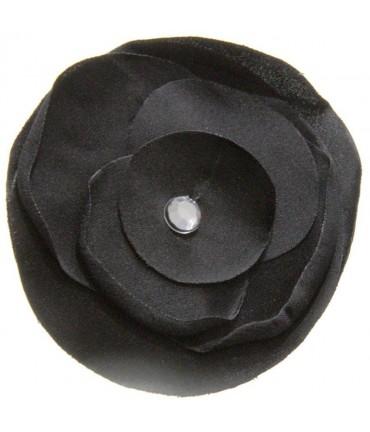 Fleur en tissu pour la création de bijoux et accessoires (5 pièces) - Noir