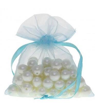 Sachets organza 10 x 12 cm pour bijoux ou dragées lot de 50 - Turquoise