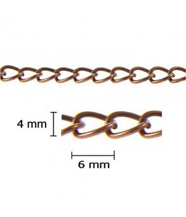 Chaine maillons gourmette 6 x 4 mm (1 mètre) - Cuivre