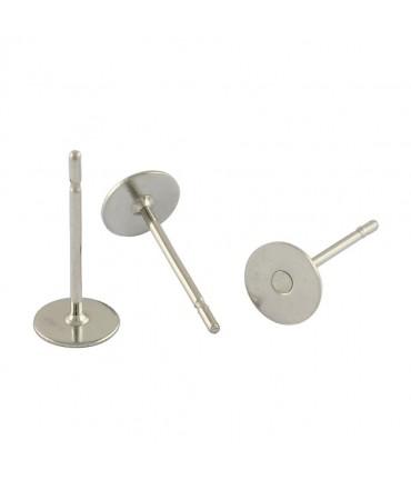 Clou d'oreille support avec plateau 6mm (100 Pièces) - Gris