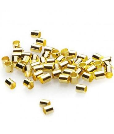Perles à écraser forme tube 2 mm ( 200 Pièces ) - Doré