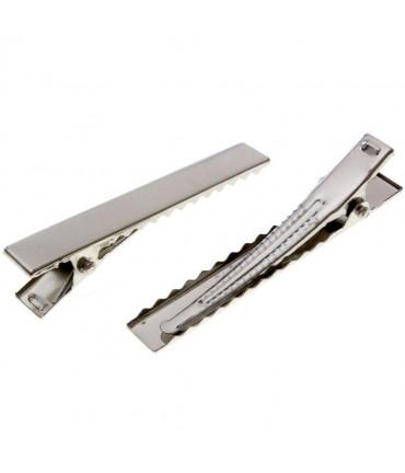 Pince crocodile cheveux support Fimo 40mm ( 10 Pièces ) - Argenté