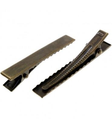 Pince crocodile barrette cheveux 40 x 7 mm ( 10 Pièces ) - Bronze