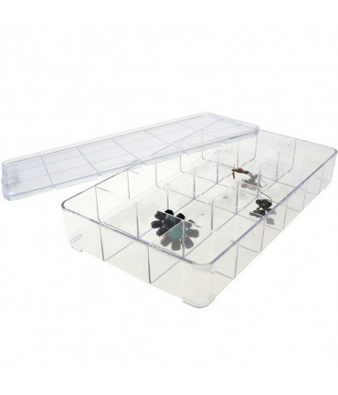 Boite de rangement 29x16,5x5 cm (18 compartments) - Transparent