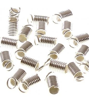 Embout cordon ou lacet Ressort 2.5 mm de diamètre (50 pièces) - Argenté