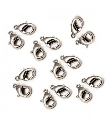 Fermoirs mousquetons 12 mm ( 10 Pièces ) - Gris