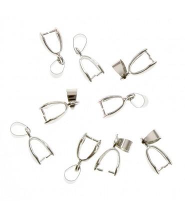 Bélières attache pendentif 19 x 5 mm ( 10 Pièces ) - Argenté