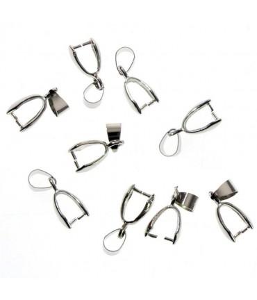 Bélières attache pendentif 19 x 5 mm ( 10 Pièces ) - Gris