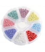 Boite De Perles De Rocaille En Verre Lustered Couleurs Vives ( 1400 Pièces ) ( 3 Mm De Diamètre ) - Multicolore