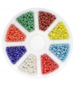 Boite De Perles De Rocaille En Verre Lustered Couleurs Vives ( 1400 Pièces ) ( 3 Mm De Diamètre )