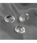Cabochon Strass Acrylique Ovale Gloria 18 X 13mm ( 5 Pièces ) - Transparent