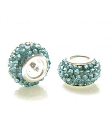Perles shamballa rondes soucoupes strass cristal ( 5 pièces ) ( 12 mm de diamètre ) - Bleu clair