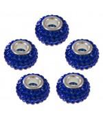 Perles shamballa rondes soucoupes strass cristal ( 5 pièces ) ( 12 mm de diamètre ) - Bleu marine