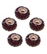 Perles shamballa rondes soucoupes strass cristal ( 5 pièces ) ( 12 mm de diamètre ) - Bordeaux