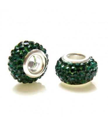 Perles shamballa rondes soucoupes strass cristal ( 5 pièces ) ( 12 mm de diamètre ) - Emeraude