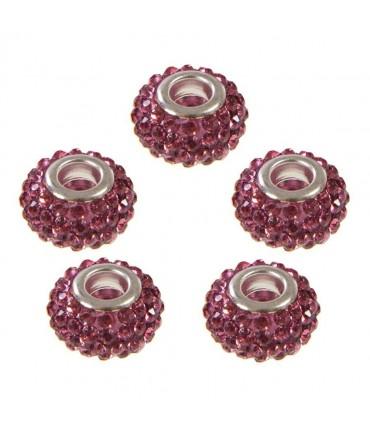 Perles shamballa rondes soucoupes strass cristal ( 5 pièces ) ( 12 mm de diamètre ) - Rose