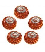 Perles shamballa rondes soucoupes strass cristal ( 5 pièces ) ( 12 mm de diamètre ) - Orange
