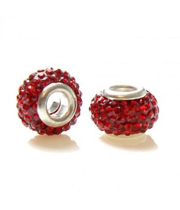 Perles shamballa rondes soucoupes strass cristal ( 5 pièces ) ( 12 mm de diamètre ) - Rouge