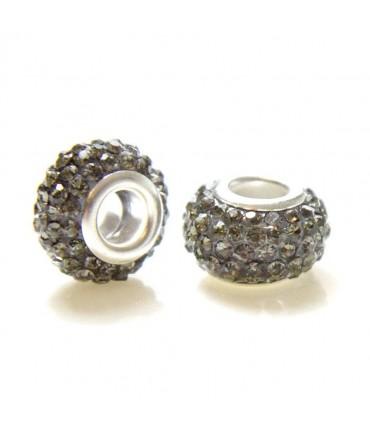 Perles shamballa rondes soucoupes strass cristal ( 5 pièces ) ( 12 mm de diamètre ) - Gris