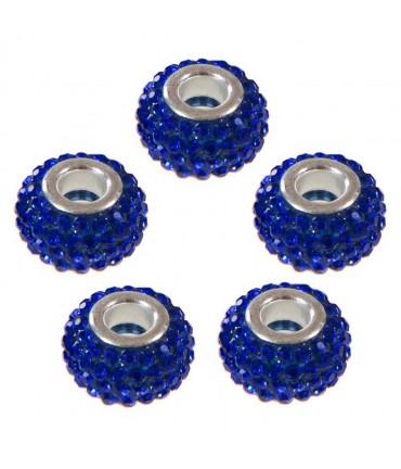 Perles shamballa rondes soucoupes strass cristal ( 5 pièces ) ( 14 mm de diamètre ) - Bleu marine