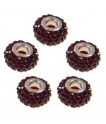Perles shamballa rondes soucoupes strass cristal ( 5 pièces ) ( 14 mm de diamètre ) - Bordeaux