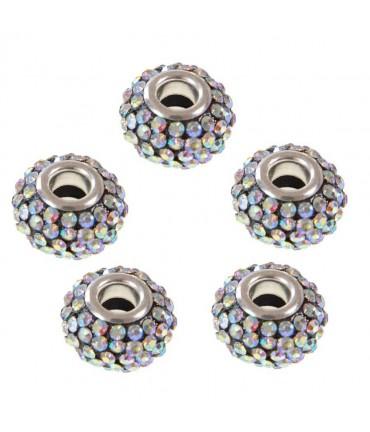 Perles shamballa rondes soucoupes strass cristal ( 5 pièces ) ( 14 mm de diamètre ) - Cristal